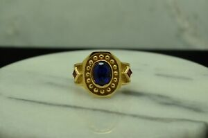 14K YELLOW GOLD OVAL BLUE SAPPHIRE W/ RUBY ACCENTS RING BAND SIZE 6.75 #D3156