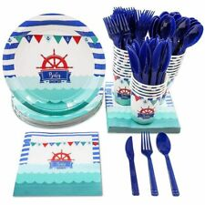 Disposable Dinnerware Set for 24 - Nautical Themed Baby Shower Party Supplies