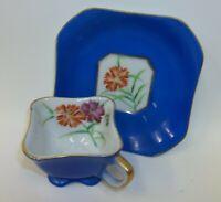 Vintage Merit Occupied Japan Demitasse Teacup Set - Royal Blue & Carnations