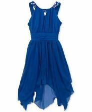 RARE EDITIONS® Girl's 7 Blue Hankerchief Hem Party Dress NWT $65