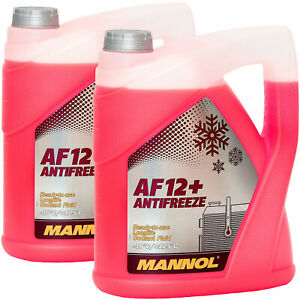 2x 5L Kühlerfrostschutz Rot G12+ Mannol Antifreeze AF12+ -40C Kühlmittel VW Audi