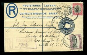 South Africa to the USA Registered LETTER stationery envelope 1929 cover