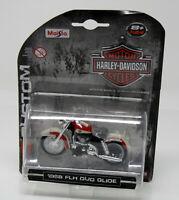 Modell Motorrad 1:24 Harley-Davidson 1958 FLH Duo Glide rot creme  Maisto