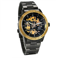 Luxury Black Skeleton Dial Auto Watch Steampunk Mechanical Wristwatch Mens Gift