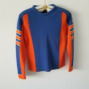 Vintage Demeter Men's Pure Virgin Wool Sweater Colorblock Blue Orange Size Small