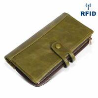 Women's Genuine Leather Long Wallet Ladies ID Card Holder RFID Blocking Purse