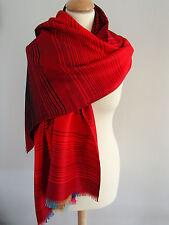 Etole écharpe foulard châle 100% pashmina réversible rouge multico neuf ladydjou
