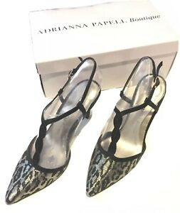 Adrianna Papell Boutique Hannah Heels Sequined Leopard Strappy Party Prom 5.5M