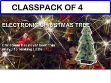 (PACK OF 4) MUSICAL Christmas Tree w/Flashing LEDS and 3 Christmas Songs DIY Kit