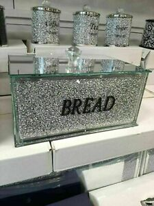 Large Silver Crushed Diamond Crystal Mirrored Bread Bins Container Jar Sparkly