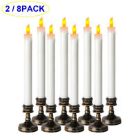 2/8Pcs LED Flameless Taper Flickering Battery Operated Candles Light Party Decor