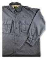 Cabela's Guidewear Mens Hiking Fishing Vented Long Sleeve Shirt Blue Size L