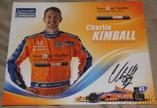 2012 Charlie Kimball signed Novo Nordisk Honda DW12 Dallara Indy Car postcard