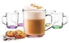 6 Taza de Té café con mango y multicolor Suelo Vaso Cristal
