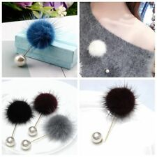 Clothes Women Corsage Fur Ball Imitation Pearl Brooch Jacket Collar Lapel Pins