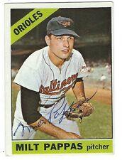 Signed 1966 Topps MILT PAPPAS Baltimore Orioles card # 105- COA