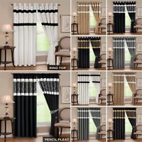Modern Faux Silk Eyelet Ring Top Pencil Pleat Fully Lined Curtains Inc 2 Tieback