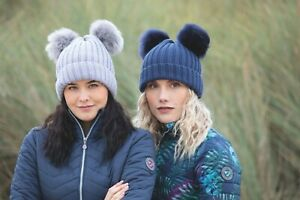 Shires Aubrion Kennington Knitted Hat with Two pom poms Grey or Navy (8247)