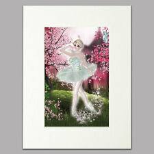 "Blossom Ballerina Print women/girls divine pink Mounted Wall Art A4 12"" x 16"""
