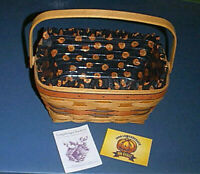 LONGABERGER 1994 Halloween Pumpkin BOO BASKET with Liner and Plastic Protector