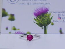 Sterling Silver  & Pink Jade  Stacking Ring - Any size made to order!