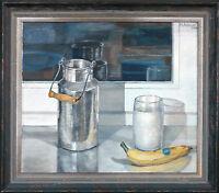 Michaela Krinner 1915-2006: Stilleben Milchkanne Wasser-Glas Obst 2002 Öl, +Buch