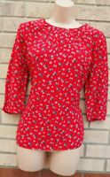 NEXT 3/4 SLEEVE RED WHITE FLORAL DAISY VISCOSE  SUMMER BLOUSE TOP T SHIRT 10 S
