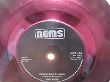 "THE YOBS Run Rudolph Run NEMS 7"" RARE 1977 UK RUBY RED PRESSING & SOLID LABELS"