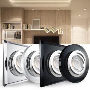 LED Einbaustrahler Glas schwenkbar Einbauleuchte Deckeneinbauspot Set 12V / 230V