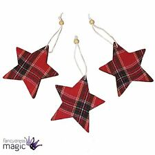 Pack Of 3 Red Tartan Star Bead Hanging Traditional Christmas Tree Decorations