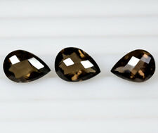 Natural Brown Smoky Quartz Checkered Cut Pear For Pendant Earrings Set 11.40 Cts