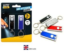 2x Ultra Bright KEY RING TORCH Flashlight Mini LED Pocket Travel Keychain New UK
