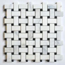 Carrara 1.2x2 Honed w/ Black Marble Dots Basketweave Floor Mosaic Tile Bathroom