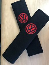 Embroidered Vw Universal  Seat Belt Shoulder Pads Pair Black And Red