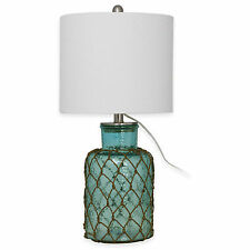 Seeded Glass Table Lamp - Tropical Blue - Linen Drum Shade - NEW Free Shipping