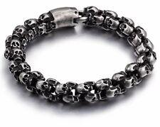 Stainless Steel Gunmetal Vintage Style Black Link Chain Skull Bracelet 12mm