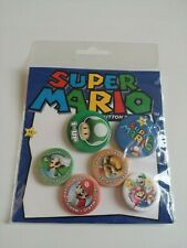 Super Mario Button Badge Set - 6 Pack Pin Gift Set