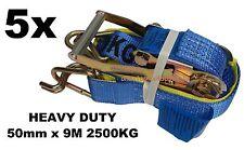 5x - 50mm x 9M 2500KG TIE DOWN RATCHET STRAP HEAVY DUTY, QUALITY STRAPS