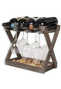Rustic State Cava Solid Wood Wine and Glass Rack