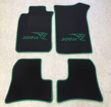 Autoteppiche Fußmatten für Peugeot 206cc Cabrio schwarz grün 4teilig Neuware