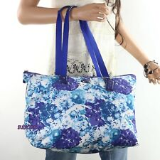 NEW Coach Floral Print Nylon Packable Weekender Tote Bag F31441 Blue Flowers