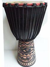 "PRO QUALITY MAHOGANY WOOD BONGO DJEMBE DRUM TRIBAL CARVED BLACK 50CM 9-9.5"" HEAD"