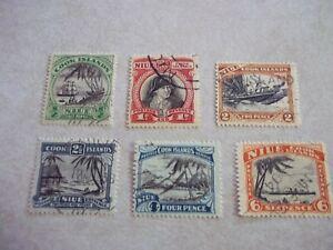 NIUE Cook Islands Stamps SG 62-7 Scott 60-5 Single WMKD. Fine Used