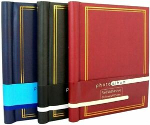 3X Large Self Adhesive Photo Album Total 20 Sheets 40 Sides Red &Blue & Black