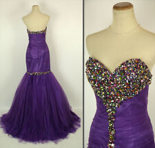 NEW $500 Jovani Purple Strapless Mermaid Long Gown Prom Formal Size 6 Evening