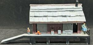 Old Time Station, Depot : VINTAGE Custom WOODEN / Decorated HO Scale Building