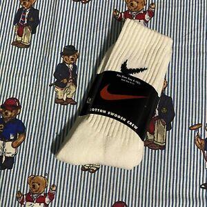 Vintage NIKE Cotton Swoosh Crew Socks Size 9-11 White Black Unisex USA NEW NOS