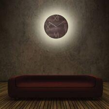 LED Wanduhr beleuchtet rund braun Nextime 3104br Wanduhr Galileo leuchtend 43cm