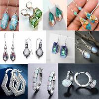 Vintage 925 Silver Turquoise Gemstone Ear Stud Dangle Hoop Earrings Wedding Gift