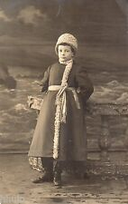 BM051 Carte Photo vintage card RPPC Enfant mode fashion manteau bonnet